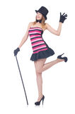 Young pretty woman dancing with walking stick isolated Royalty Free Stock Images