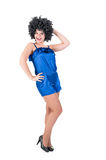 Young pretty woman with disco style wig Royalty Free Stock Photos