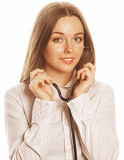 Young pretty woman doctor with stethoscope on white background Royalty Free Stock Photos