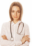 Young pretty woman doctor with stethoscope on white background Royalty Free Stock Photo