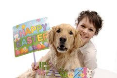Young pretty woman with dog and Easter Stock Photos