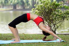 Young pretty woman doing yoga exercises in park Stock Images