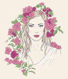 Young pretty woman. Drawn elegant girl in flowers. Romantic lady Royalty Free Stock Photography