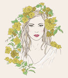 Young pretty woman. Drawn elegant girl in flowers. Romantic lady Stock Photography