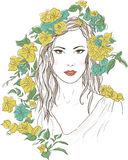 Young pretty woman. Drawn elegant girl in flowers. Romantic lady Royalty Free Stock Photo