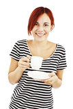 Young pretty woman drinking coffee royalty free stock image