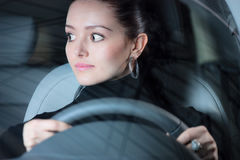 Young pretty woman driving car Stock Image