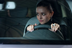 Young pretty woman driving car Royalty Free Stock Images