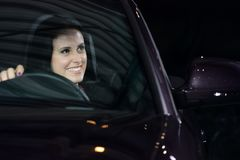Young pretty woman driving car Royalty Free Stock Photo