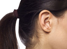 Young pretty woman ear closeup. Over isolated background stock photography