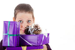 Young pretty woman with gifts Royalty Free Stock Photo