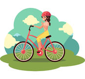 Young pretty woman, girl riding bicycle, cycling, cartoon vector illustration Stock Image