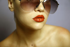 Young pretty woman with glasses royalty free stock photography