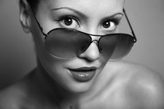 Young pretty woman with glasses Royalty Free Stock Image