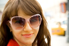 Young pretty woman in glasses Stock Photos