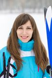 Young pretty woman going to skiing Royalty Free Stock Image
