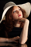 Young Pretty Woman in a hat. Looking Upwards Stock Images
