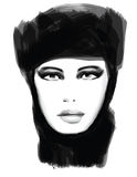 Young pretty woman with hat. Vector illustration Stock Photo