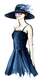 Young pretty woman with hat. Vector illustration Royalty Free Stock Image