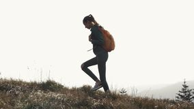 Young pretty woman hiker walking on edge of mountain ridge against background of sunset. Young pretty woman hiker with small orange backpack is walking on edge stock video