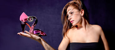 Free Young Pretty Woman Hold Sandal At Palm Stock Photos - 11273273