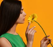 Young pretty woman hold yellow gerbera flower in green dress Stock Photo