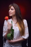 Young pretty woman holding red tulip Stock Photos