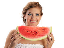 Young pretty woman holding slice of watermelon Stock Photos