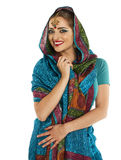 Young pretty woman in indian blue dress Stock Images