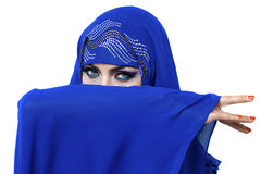 Young pretty woman in indian blue dress Stock Photos