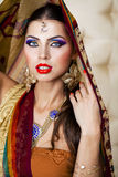 Young pretty woman in indian dress Stock Photo
