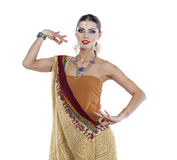 Young pretty woman in indian dress Royalty Free Stock Photography