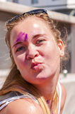 Young pretty woman in the indian festival Holi Royalty Free Stock Photography