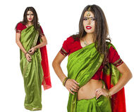 Young pretty woman in indian green dress Stock Images