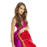 Young pretty woman in indian red dress Royalty Free Stock Image