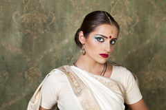 Young pretty woman in indian white dress Stock Photos