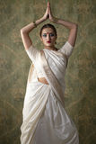 Young pretty woman in indian white dress Stock Image