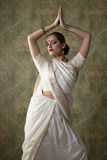 Young pretty woman in indian white dress Royalty Free Stock Photo