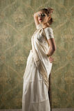 Young pretty woman in indian white dress Stock Images