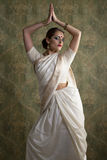 Young pretty woman in indian white dress Royalty Free Stock Photography