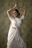 Young pretty woman in indian white dress Royalty Free Stock Images