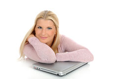 Young pretty woman with laptop computer Stock Image