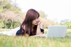 Young pretty woman with laptop Royalty Free Stock Photo