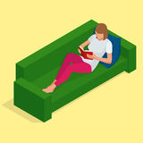 Young pretty woman lies on a sofa and reading a book enjoys of rest. Flat 3d vector isometric illustration Royalty Free Stock Photos