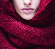 Young pretty woman lips in sweater and scarf all Royalty Free Stock Image