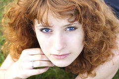 Young pretty woman looking up Royalty Free Stock Images