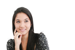 A young, pretty woman looks thoughtfully up Royalty Free Stock Image