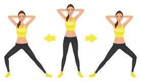 Young pretty woman make lunge exercise with hands behind head. Fit girl in leggings and crop top. Vector illustration. Royalty Free Stock Image