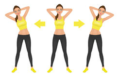 Young pretty woman make side bend exercise with hands behind head. Fit girl in leggings and crop top. Warm-up Stock Photo