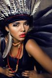 Young pretty woman with make up like red indian. Halloween teem celebration Royalty Free Stock Photos